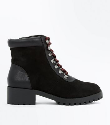 Black Contrast Panel Lace Up Hiker Boots