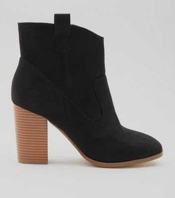 Black Suedette Squared Toe Ankle Boot