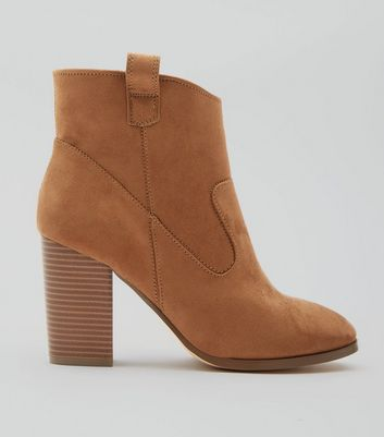 Tan Suedette Square Toe Block Heel Western Boots