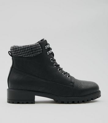 Black Check Cuff Lace Up Hiker Boots