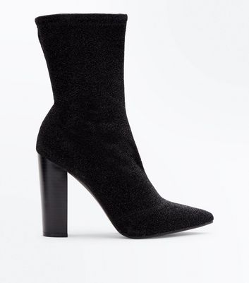 Black Glitter Block Heel Sock Boots