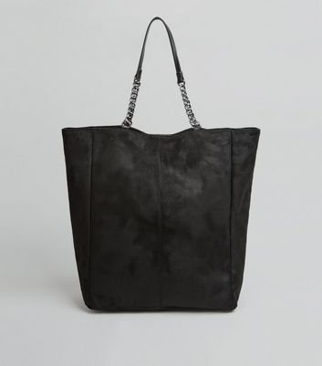 Black Suedette Chain Handle Shopper Bag