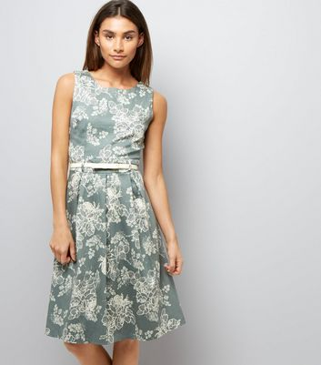 Apricot Olive Green Floral Print Belted Dress