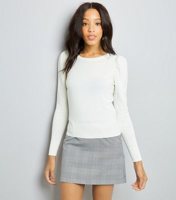 White Puff Sleeve Fine Knit Jumper