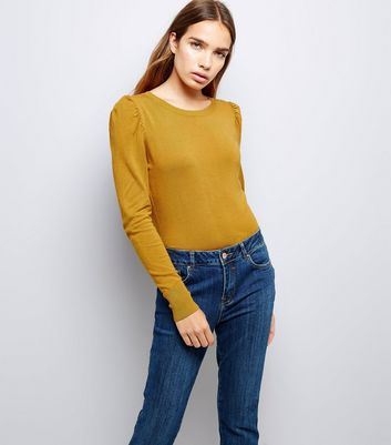 Mustard Yellow Puff Sleeve Fine Knit Jumper