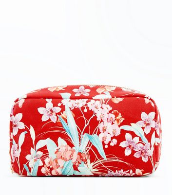 Red Floral Make Up Bag