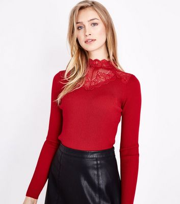 Red Lace Panel High Neck Jumper