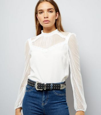 Cream Mesh and Lace High Neck Blouse