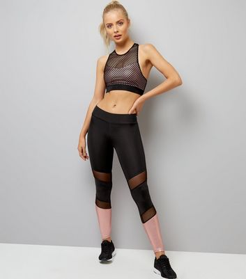 Black Mesh and Metallic Panel Sports Leggings