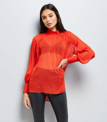 Red Flocked Spot High Neck Blouse