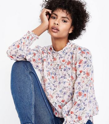 Pink Floral Frill Neck Long Sleeve Blouse