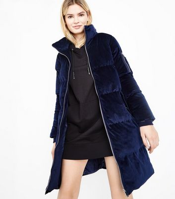 Blue Vanilla Navy Velvet Funnel Neck Puffer Jacket