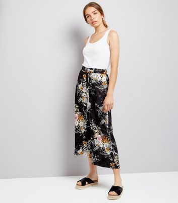 Black Floral Jacquard Cropped Wide Leg Trousers