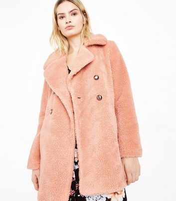 Blue Vanilla Pink Faux Shearling Coat