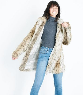 Blue Vanilla White Leopard Print Faux Fur Coat