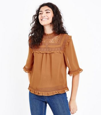 Rust Lace Yoke 1/2 Sleeve Blouse