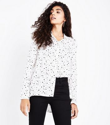 White Spot Print Step Hem Shirt