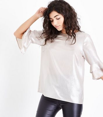 Gold Metallic Frill Sleeve Top