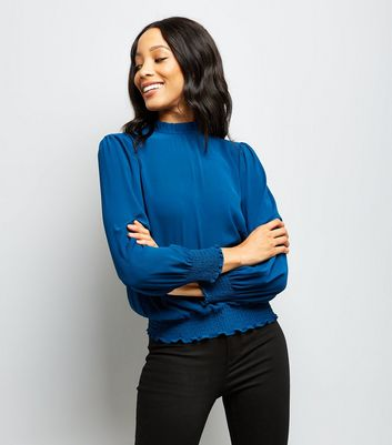 Blue Frill Trim Long Sleeve Top