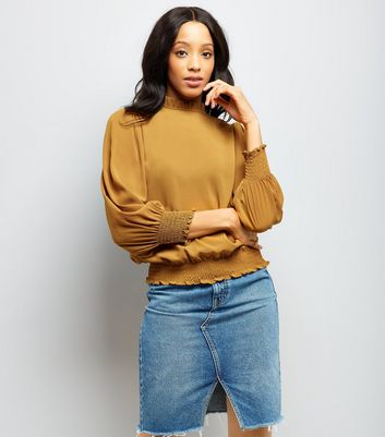 Yellow Frill Trim Long Sleeve Top