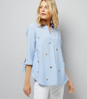 Blue Floral Embroidered Tie Sleeve Shirt