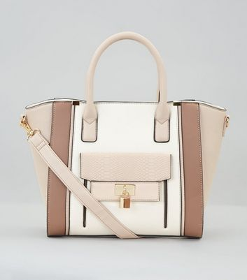 Cream Colour Block Structured Tote Bag