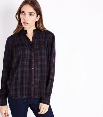 Green Check Gathered Shirt
