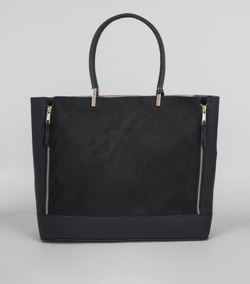Black Zip Side Tote Bag
