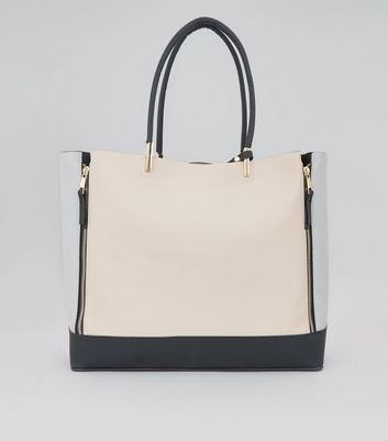 Shell Pink Colour Block Zip Side Tote Bag