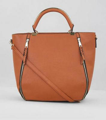 Tan Zip Size Metal Handle Tote Bag