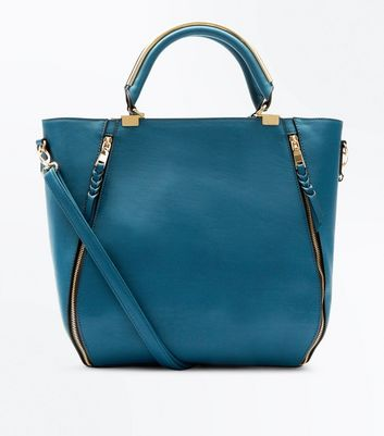 Blue Zip Side Metal Handle Tote Bag