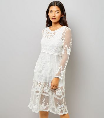 White Crochet Lace Midi Skater Dress
