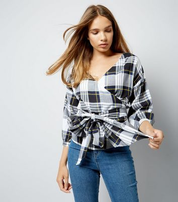 White Check Wrap Front Top