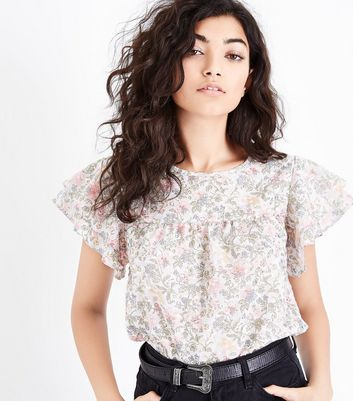 White Floral Frill Sleeve Top