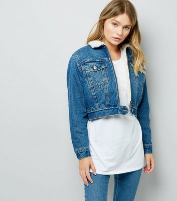 Blue Borg Lined Zip Front Cropped Denim Jacket