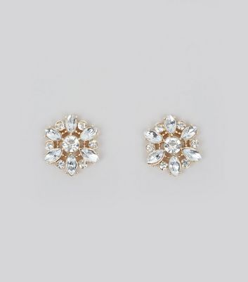 Gold Floral Crystal Embellished Stud Earrings