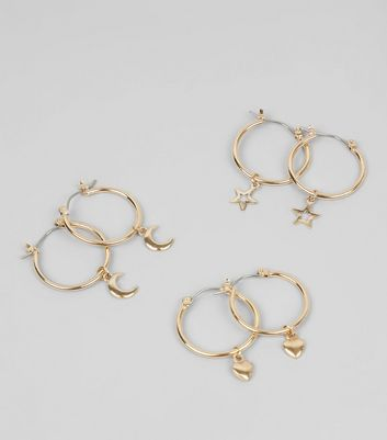 3 Pack Gold Charm Mini Hoop Earrings