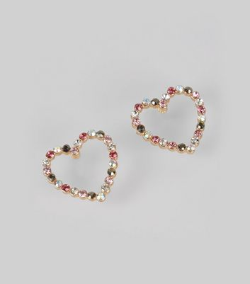 Gold Crystal Heart Stud Earrings