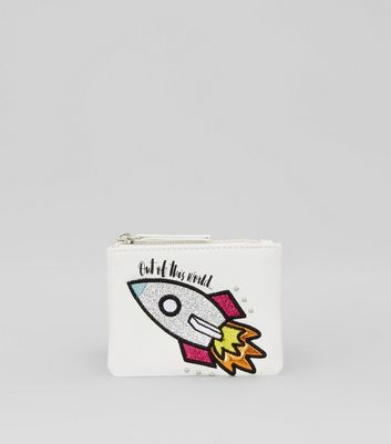 White Embroidered Rocket Coin Purse