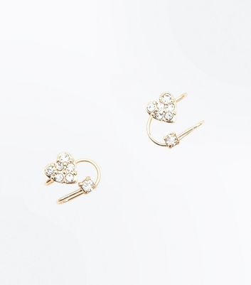 Gold Heart Diamante Embellished Ear Cuffs