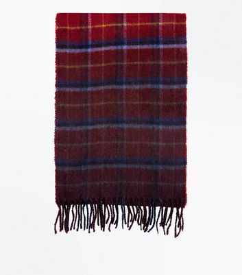 Red Dip Dyed Check Scarf