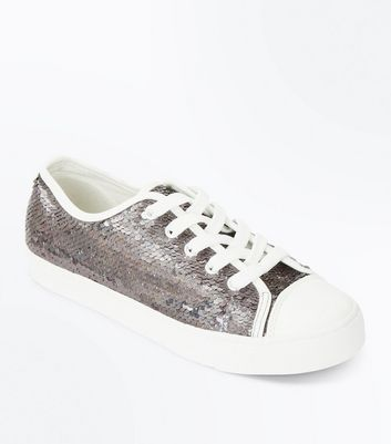 Silver Iridescent Sequin Lace Up Trainers