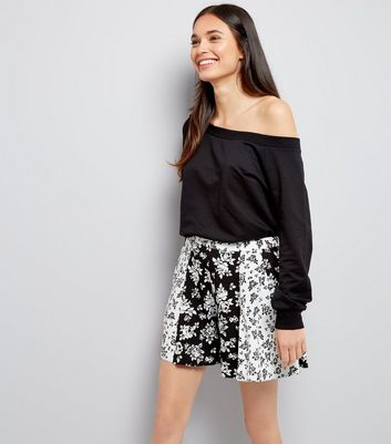 Black Floral Print Panelled Shorts
