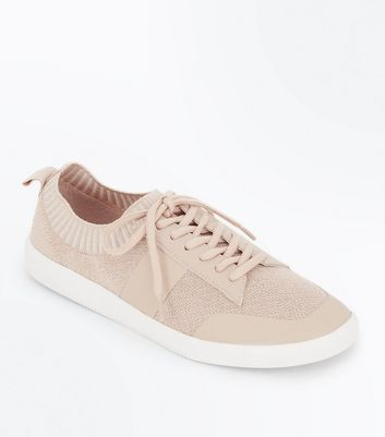 Pink Knitted Lace Up Trainers