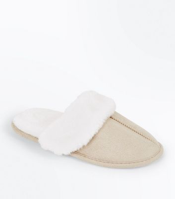 Tan Faux Shearling Mule Slippers