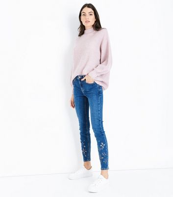Blue Floral Cut Out Skinny Jenna Jeans
