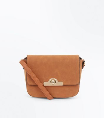 Tan Twist Lock Saddle Bag
