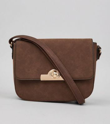 Brown Twist Lock Saddle Bag
