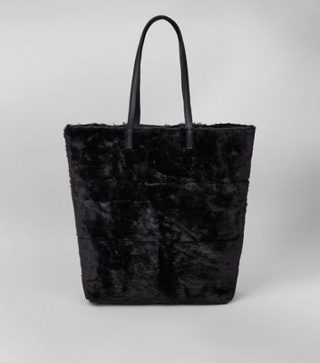 Black Faux Fur Oversized Tote Bag