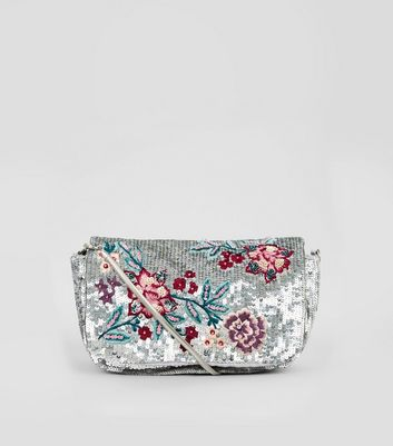 Silver Sequin Floral Detail Shoulder Bag
